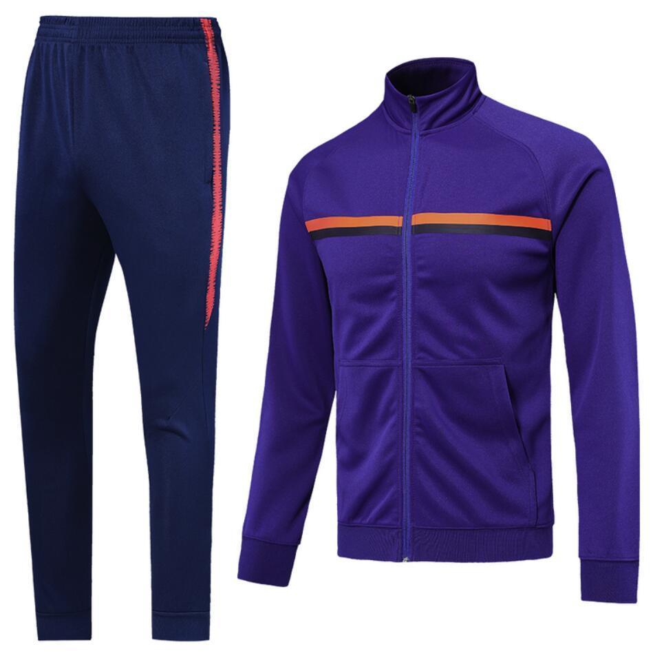 0018 Casual Style Tracksuit Veste Maillot de pied Survèrent Full Zipper Jogging Tracksuit Kits Taille S-XL