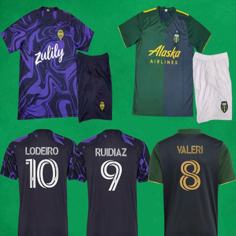 21 22 Seattle Sounders Fussball Jersey 2021 The Jimi Hendrix Kit Mls Portland-Timber Football Hemden + Shorts Herren Outdor Sports Sets Uniformen