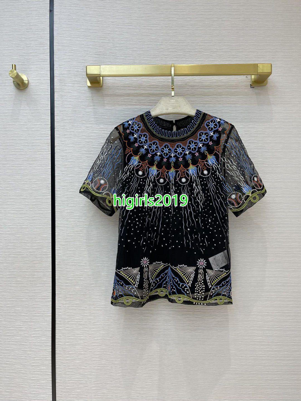 Mujeres Chicas Camiseta de manga corta Tulle Tulle Tulle con blusa bordada floral Tops T-shirt T-shirt High Cintura Midi Tulle Falda de dos piezas Vestido