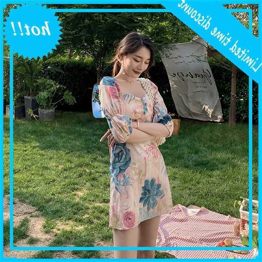 Pintura a óleo francesa quadrado pescoço bolha manga hepburn vestido de estilo feminino verão 2021 novo modelo de deusa