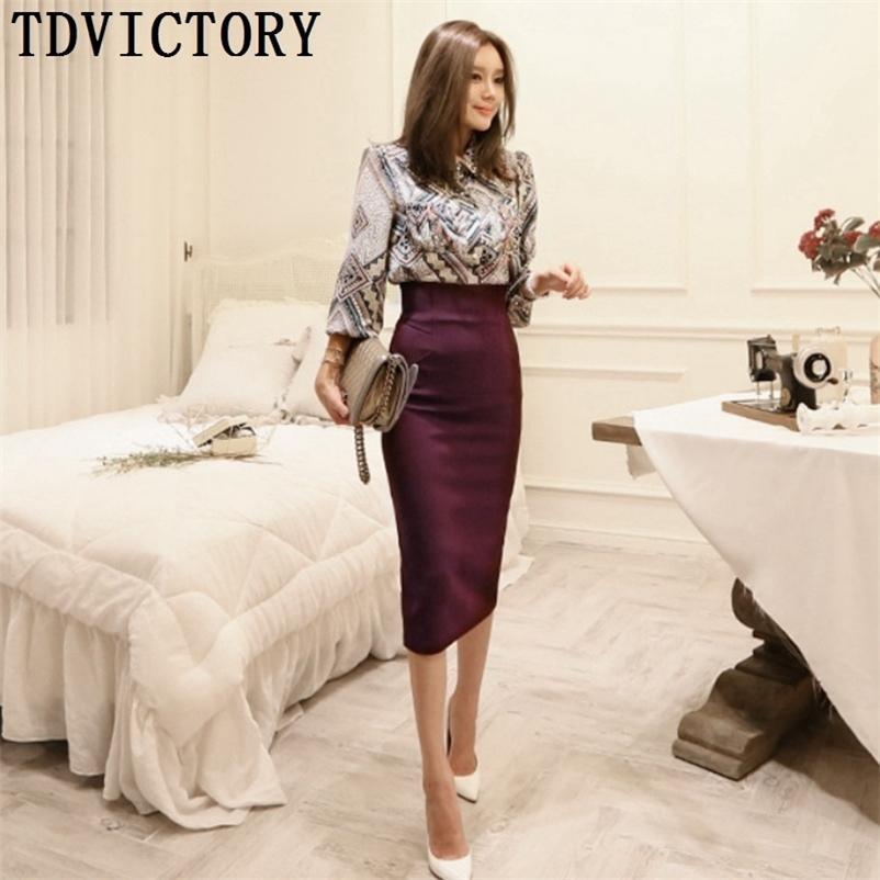 Tdvictory automne OL coréen style femme formelle deux pièces ensemble print manches longues chemise chemisier chemisier + crayon jupe maillonnée 210602
