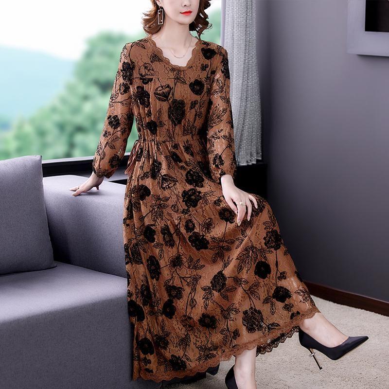 Lässige Kleider Frühling Herbst Vintage Floral Lace Langarm Midi Kleid Frauen Büro Lady Maxi 2021 Bodycon Elegante Party Vestidos