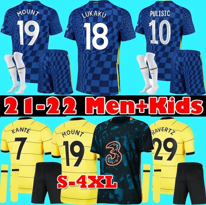 S-4XL 2021 2022 Pulisic Soccer Jersey 21 22 المشجعين لاعب Ziyech Havertz Kante Werner Lukaku Chilwell Mount Jorginho T.Silva Home Third Third Football Shirt Men Kids Kit