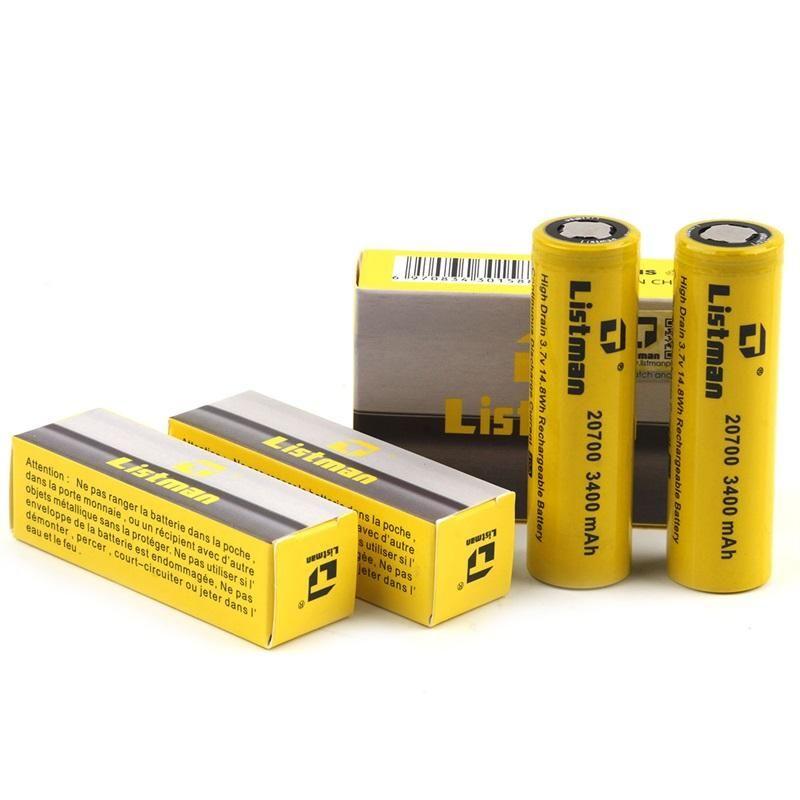 100% original listman imr 20700 3400mAH 21700 3800mAh 40A 3.7V bateria recarregável de alta drenagem para 510 fiagem caixa de vape mod genuína