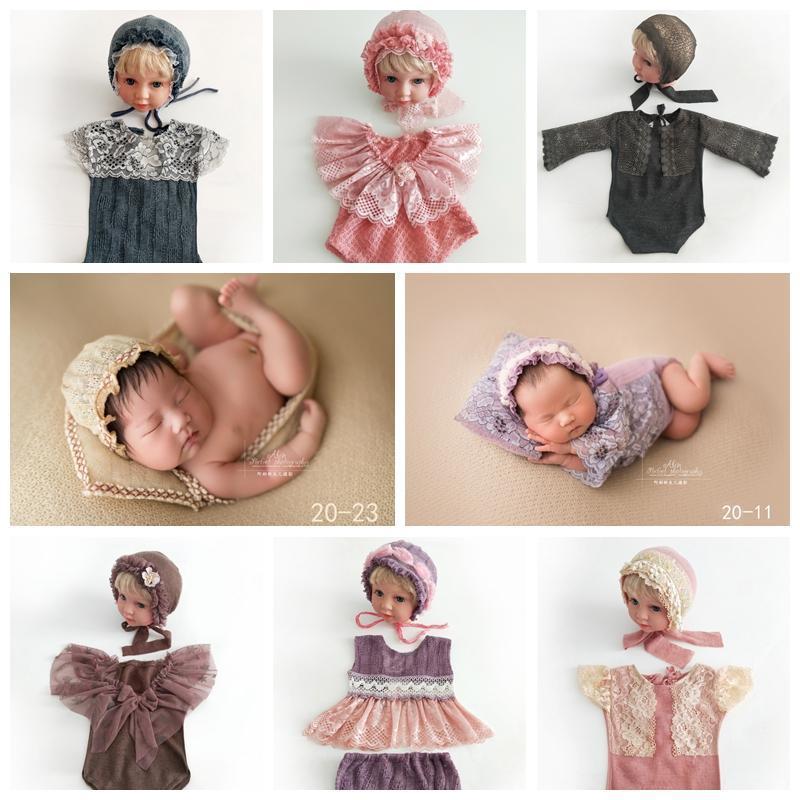 Ropa de punto Sombreros Sombreros Romper Set para Photography Newborn Photo Shoot Trajes Accesorios Accesorios Photographes BabyHoot Fotografia