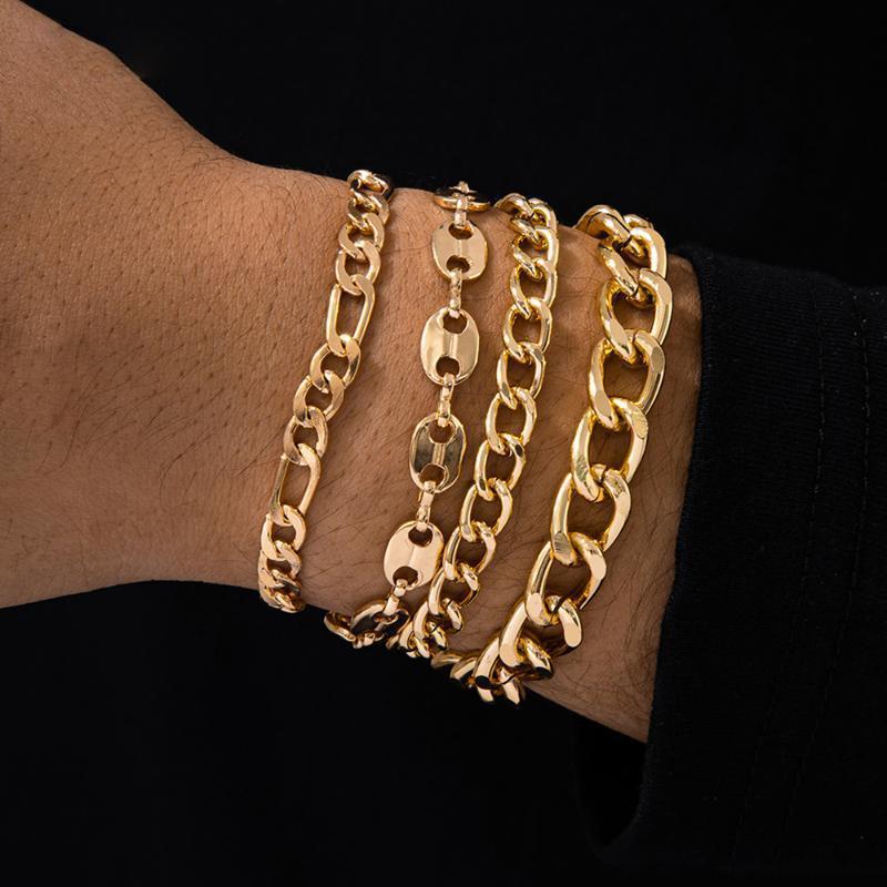 Ingesight.z 4pcs / set Punk Chunky Bracciali a catena spessa Braccialetti per le donne vintage oro colore orologio da polso braccialetto gioielli gioielli