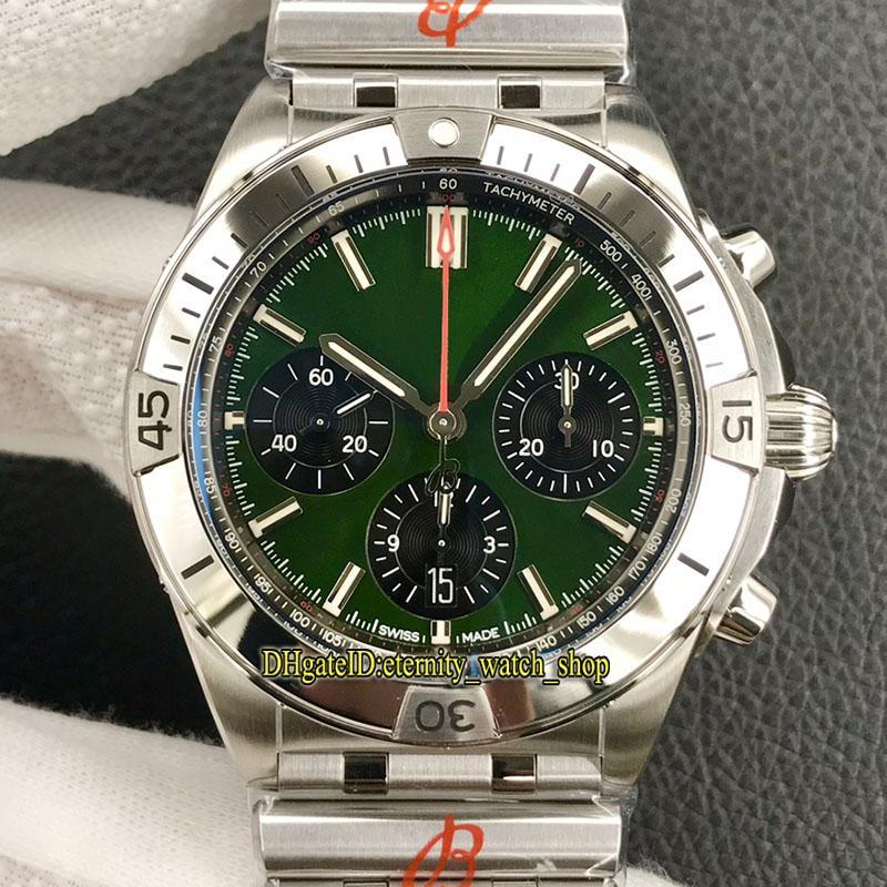 Eternity Cronkatch Relógios GFF Mais Produtos 42mm 01343 Dial Verde ETA A7750 Cronógrafo Mens Automático Assista 316L Caso Inoxidável Bullet Steel Bracelet Esporte