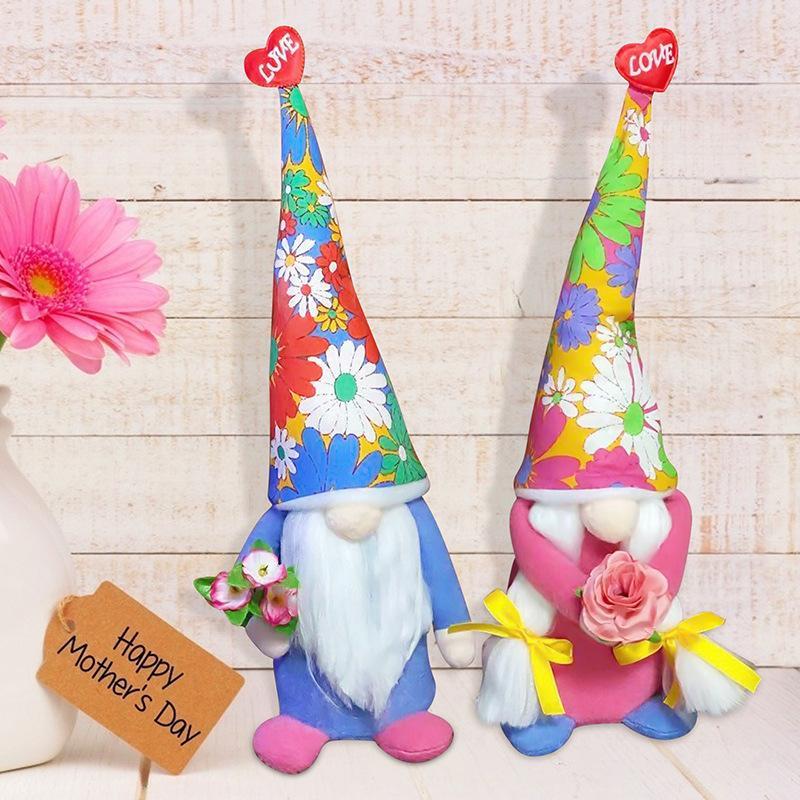Forniture per feste Mother Day Pasqua Doll Doll Fiori Plush Dwarf Gnome Toy Decoration Home Decoration Bambini Giocattoli