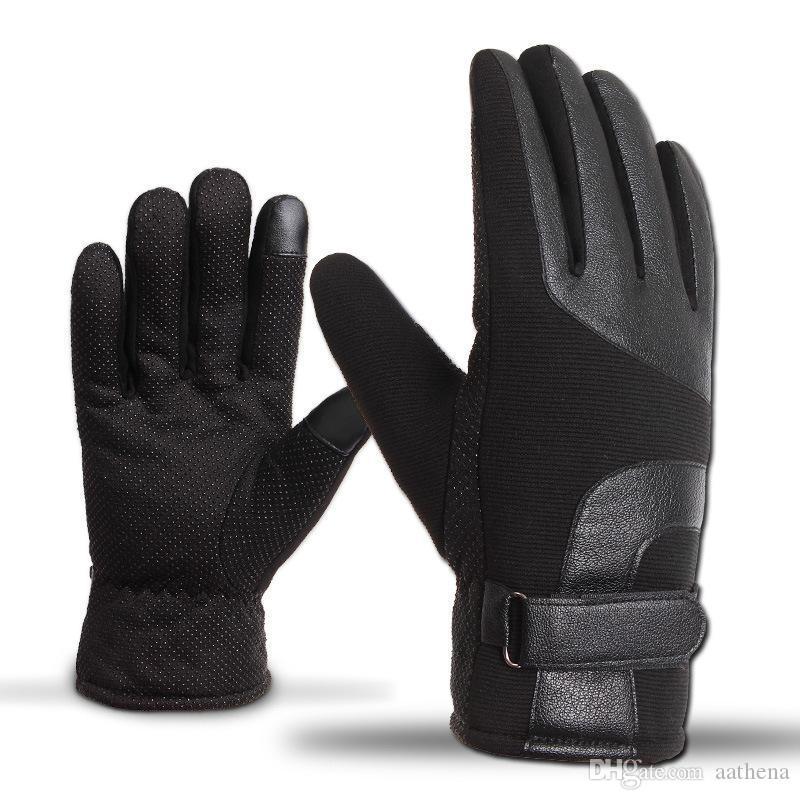 Gants de moto Homme Écran tactile d'hiver pour hommes épaissie plus velours chaud extérieur extérieur extérieur gants en cuir coupe-vent coupe-vent