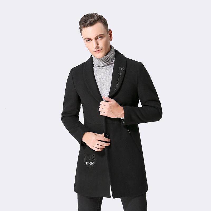 2021 novo homem preto casaco de lã outono moda de inverno coreano casacos homens overcoat abrigo hombre kj260 lil2