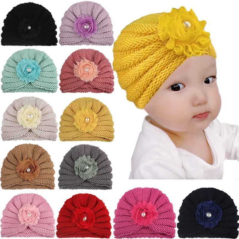 16 * 12,5 см Высокое качество ручной работы вязаные шерстяные младенческие шапка мода шифон цветок детские кепки крючком эластичный головной убор фестиваль подарок