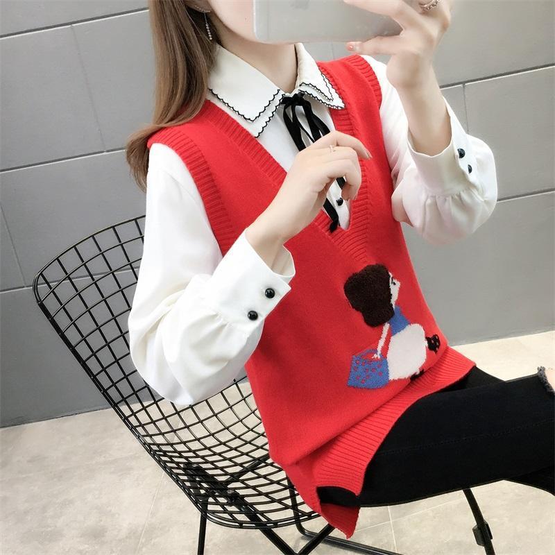 Printemps 2021 NOUVEAU Col V Haute-Vilde Gilet Femme Sweater Gilet, gilet en vrac coréen, veste sans manches