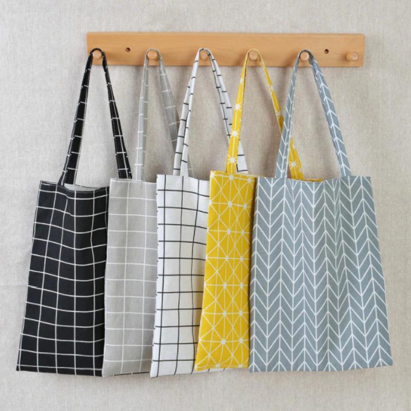Hot Fashion Sty-Leinwand-Einkaufstasche Eco-Einkaufstasche Tägliche Verwendung Faltbare Handtasche Große Kapazität Plaid Canvas Tote Für Frauen Weibliche Shopper-Tasche