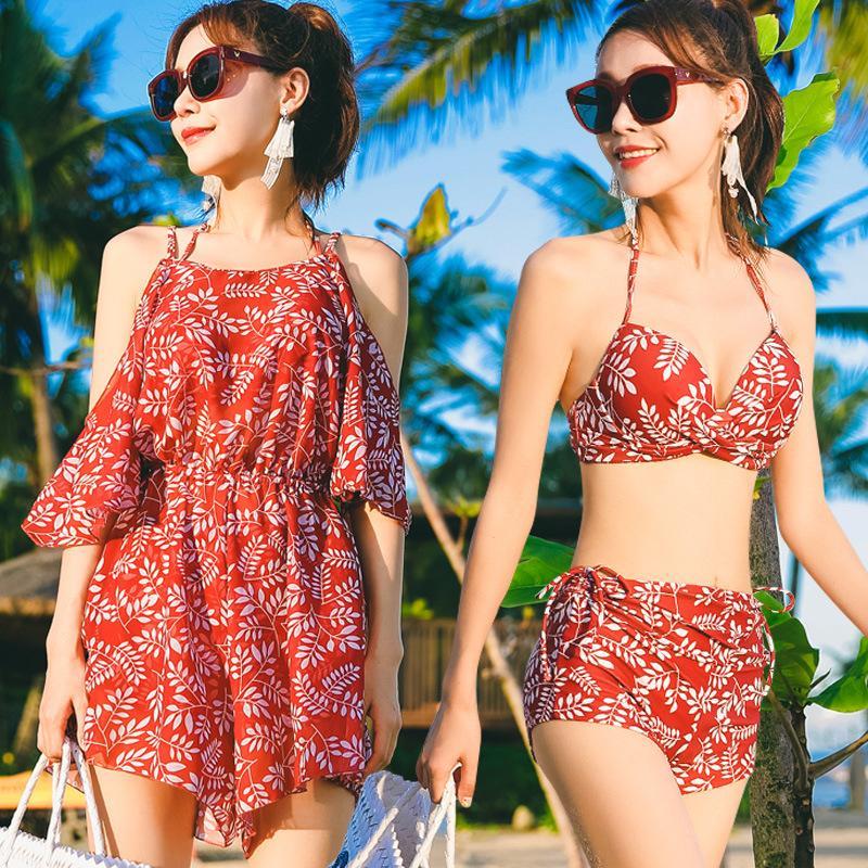 Mulheres Sexy Tankini Swimsuit Dois Pedaço Skit Ternos de Banho Cobertura Ups Swimwear Praia Banheira Ternos Romântico Saia Fluxo 222 W2