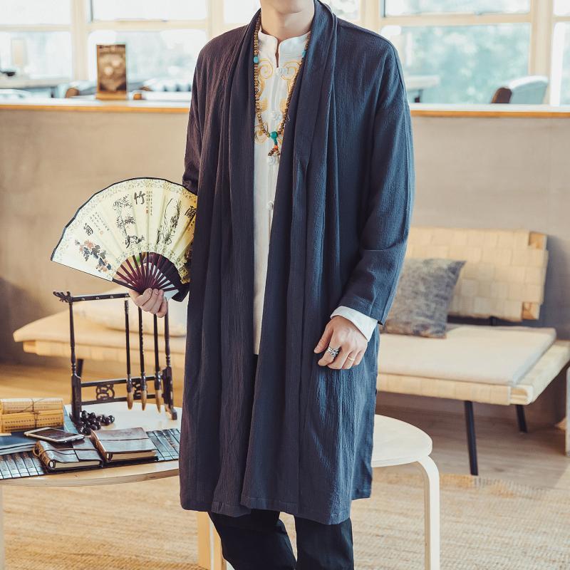 Hombres largos Kimono Vestido Asiña Islas de Asiña Ropa Estilo chino Otoño Otoño Nuevo Algodón Lino Casual Abrigo Cardigan de gran tamaño