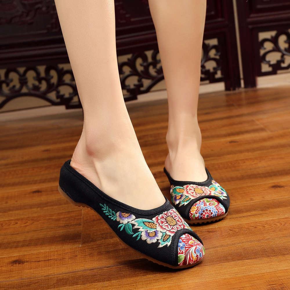 Yeni eski Pekin bez ayakkabı kadın etnik nakış baotou sığır tendon taban ev çiçek sandalet