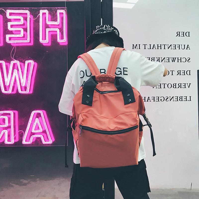 Moda Versión coreana Rosa Gris de la computadora portátil Las bolsas de la escuela de la mochila de gran capacidad para las mujeres para las adolescentes pueden ser utilizadas a mano