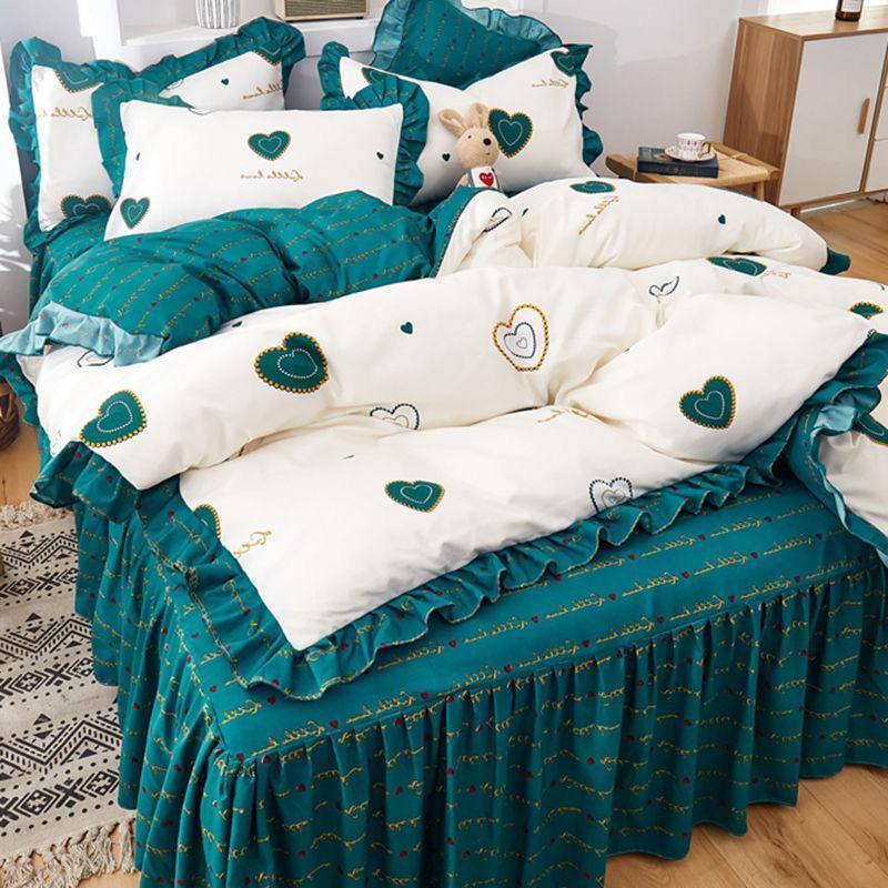 Version coréenne de la jupe de lit Quatre-pièces Literie Épaisies Style Princesse Couette Couverture Coussine Taie d'oreiller Trois pièces Cœur de fille