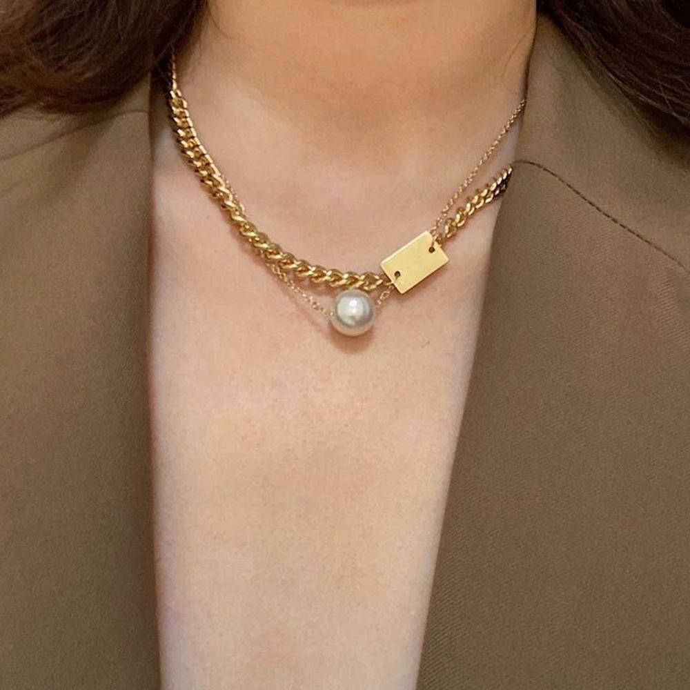 N8105 Темперамент короткие ключицы цепь хип-хоп нишевые дизайн простая жемчужное письмо ожерелье модное ожерелье