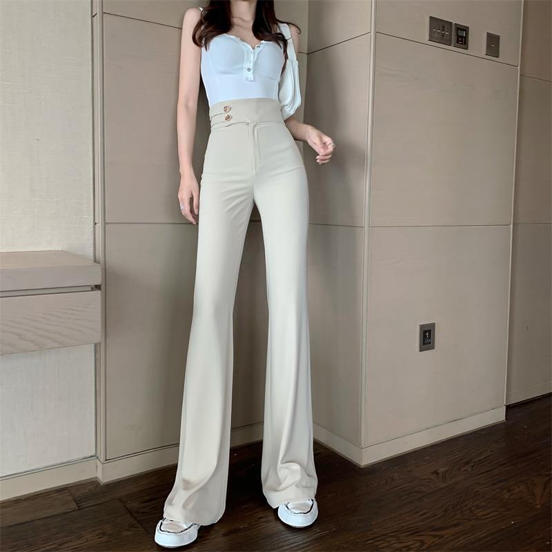 Frauen 2021 Frühling Herbst Mode Hohe Taille Buttons Hosen Weibliche Feste Farbe Casual Hosen Damen Lange Breite Beinhose Q765