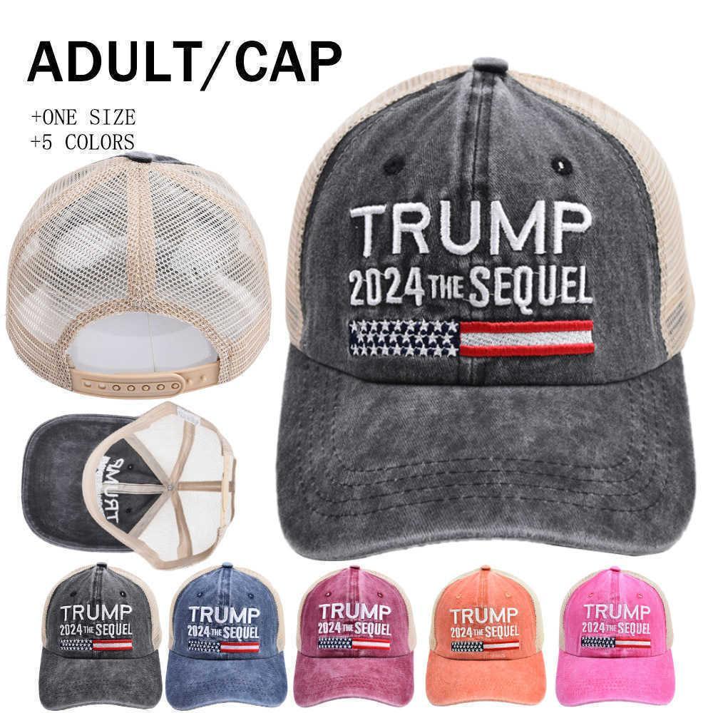 Embroidery Trump 2024 the Sequel Mesh Ball Hat Summer Unisex Baseball Cap Jean Cotton Snapback US Flag President Election Sun Visor Bucket Sports Hats G70ZO69