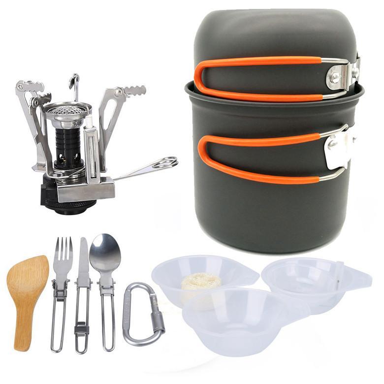 Tencere Seti Açık Kamp Yürüyüş Sırt Çantasıyla Piknik Tencere Pişirme Aracı Seti Pot Pan + Piezo Kontak Teneke Kutu Soba Seyahat Tencere