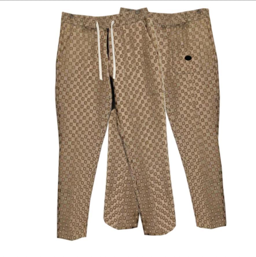 21ss мужские женские дизайнер жаккард брюки весенние летние мужчины джинсовые брюки двойное письмо случайные буквы брюки высокого качества желтый