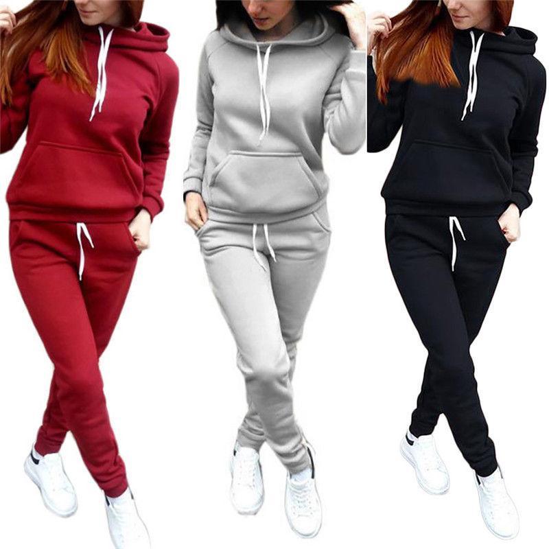 2 adet / takım Kadın Hoodies Kapşonlu Tops Pamuk Uzun Kollu Kazak + Ter Uzun Pantolon Kadın Sonbahar Kış 2 adet Sıcak Kıyafetler Suit