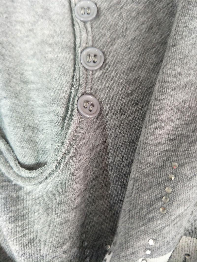 Gömlek T Kız Yaz Yeni Mektup Baskılı Sıcak Matkap U-Boyun Düğmesi Saf Pamuk Kısa Kollu T-shirt 9Sor