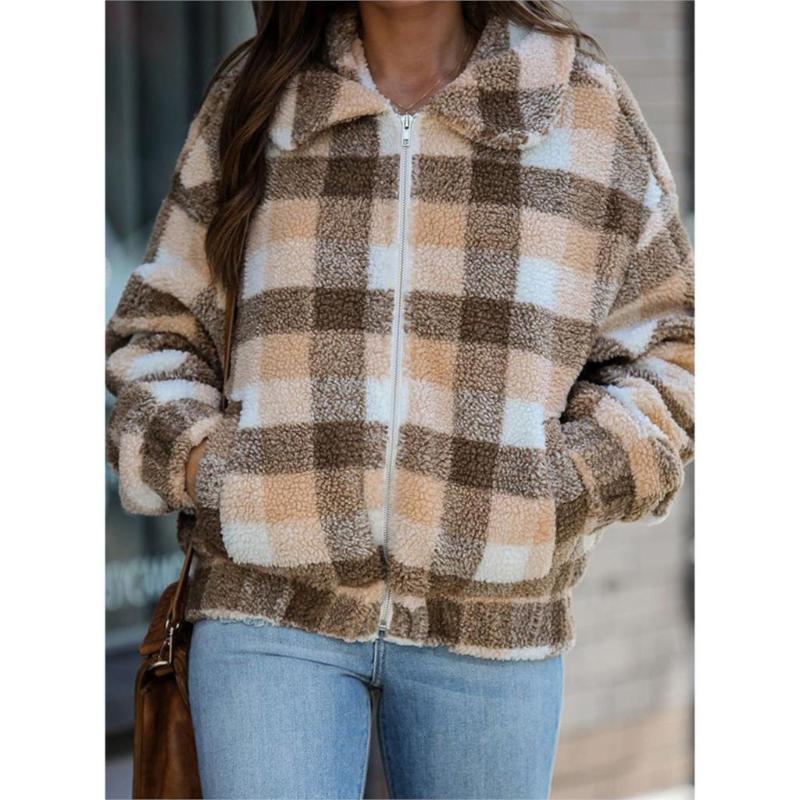 Kadınlar Kış Moda Patchwork Mont Vintage Kadın Ekose Ceketler Kadın Kalın Yün Ceket Kız Büyük Boy Kıyafet