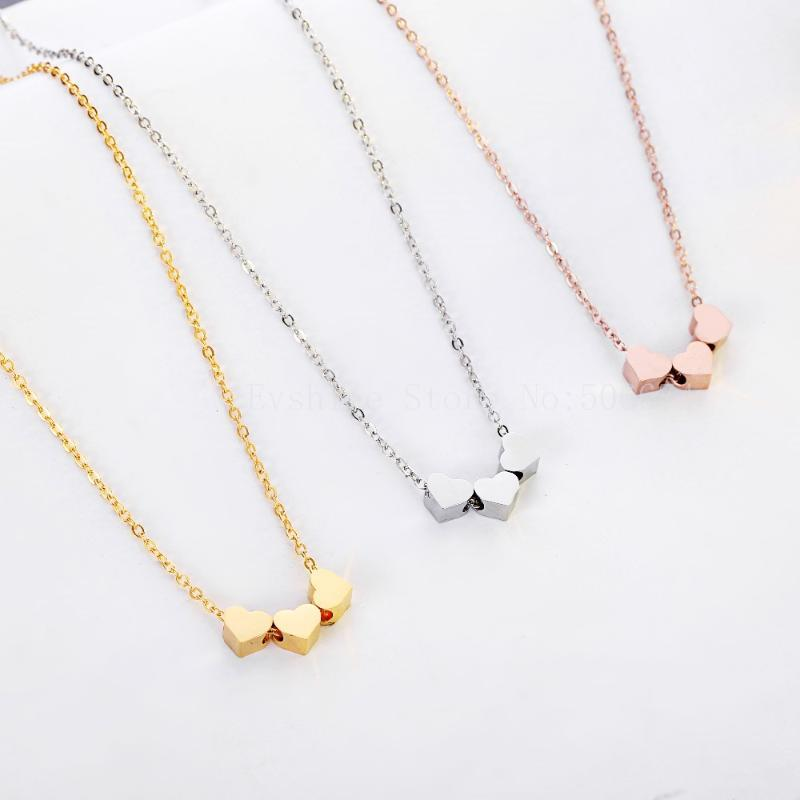 Мода Ювелирные Изделия Choker Три Сердце Любовь Ожерелья Bijoux Femme Нержавеющая Сталь Для Женщин День Рождения Подарок Свадьба Ожерелье