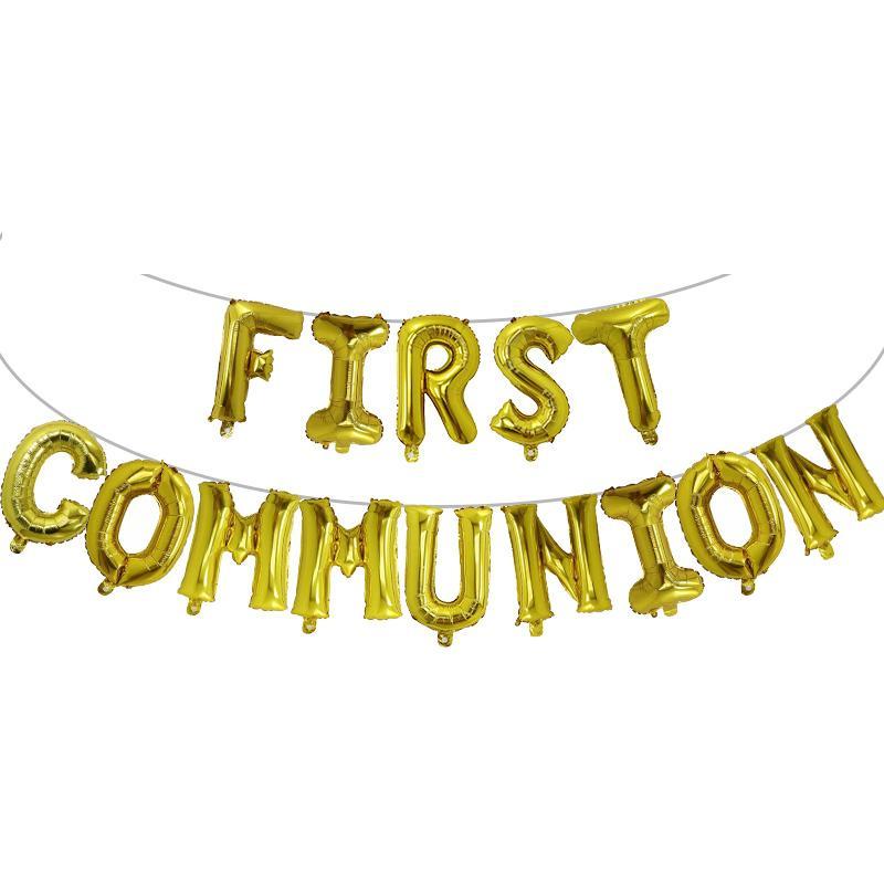 1set primera comunión Santa Comunión Globos de oro Bunting Banner Religioso 1ra Confirmación Breankening Decoración de la pared Fotos Ballon L0220