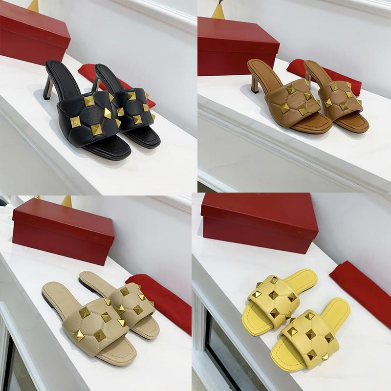 Donne Donne Sandal Sandal Sandal Summer 6.5cm Pantofole piatte in pelle Rivet Sandalo Rivetto Nero Bianco Signore Sexy Tacchi alti da sposa sexy US12 NO269