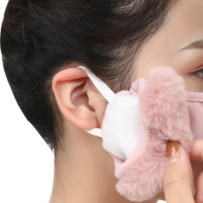 Máscara de máscara con mascarilla protectora de la cara de peluche PM2.5 Máscaras de la boca gruesa y cálida del invierno de la boca de la boca de la mufla de la mufla al aire libre YYB