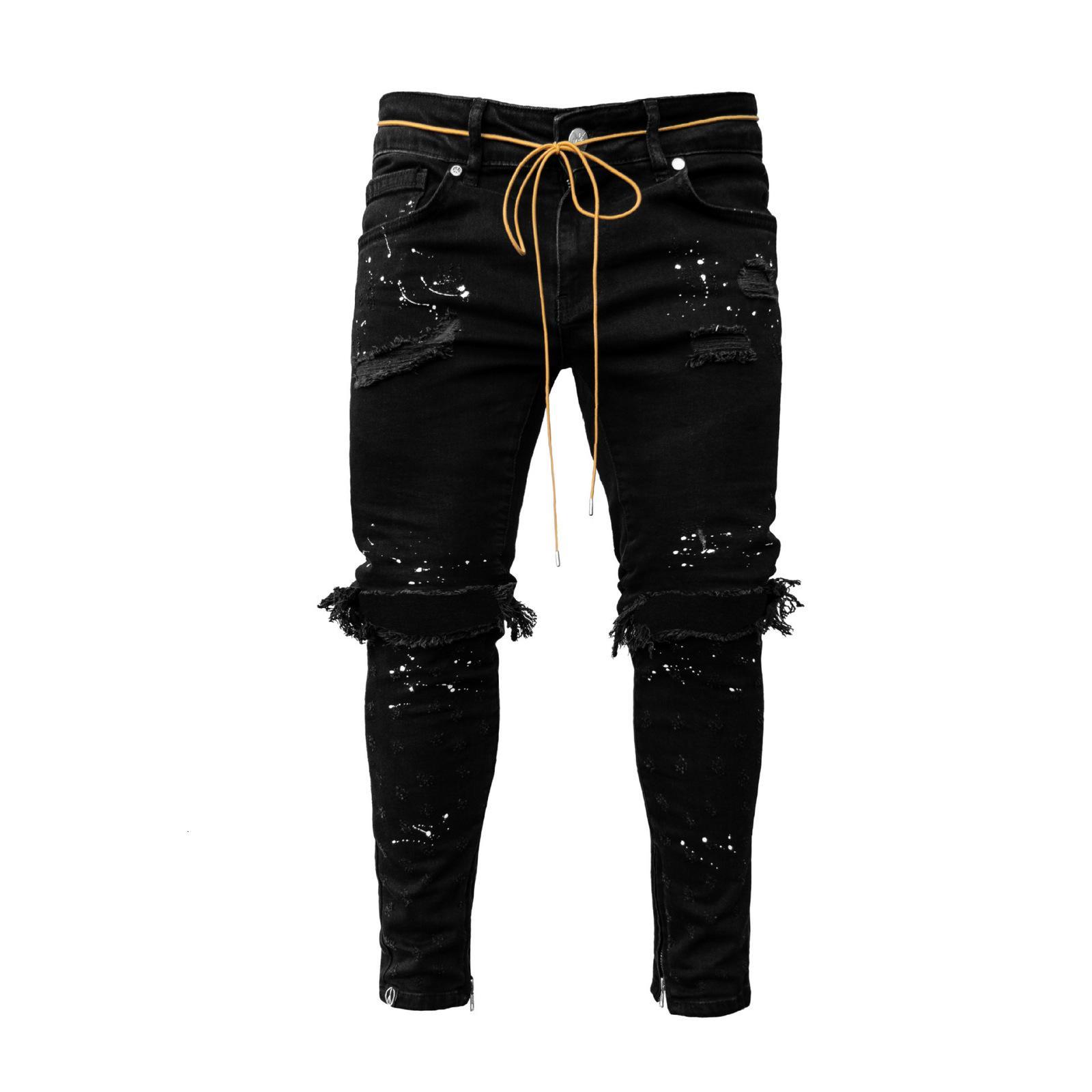 Yırtık Hip Hop için Delik Cargo Pantolon Sıkıntılı Açık Mavi Denim Kot Sıska Erkek Giyim Tam Boy Sonbahar TO D51U