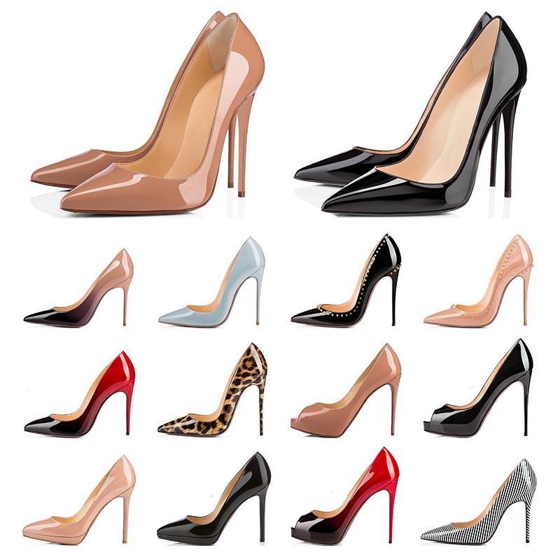 하이힐 너무 키트 붉은 바닥 여자 드레스 신발 Stiletto 8 10 12cm 정품 가죽 포인트 발가락 펌프 로퍼 고무 크기 35-43 withbox