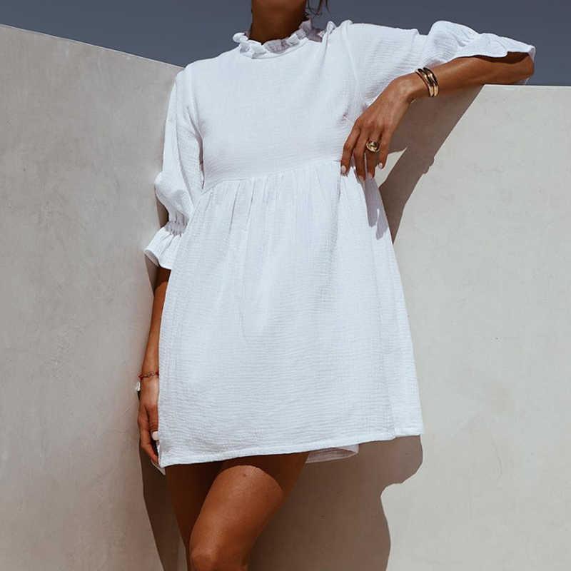 Одежда 2020 летних мини женщин сплошные повседневные свободные женские рюкзаки половина Mouw Party Style новая мода женские права платья