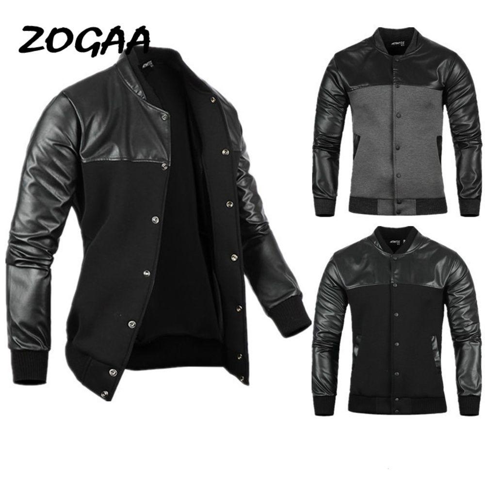 Zogaa hombre chaqueta otoño PU cuero costuras negras / gris ocio ocio ocasional ropa exterior para hombre chaquetas y abrigos 2021