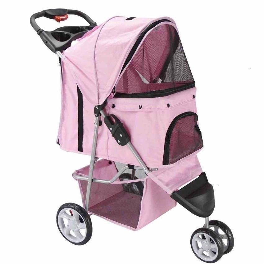 Jogger Pet Stroller Cat Dog 3 Wheel Walk Travel Travel Portador plegable