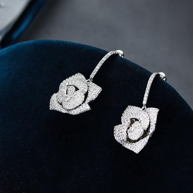 Marka Tasarımcısı Düğün Takı Kadın Küpe 2020 Moda Gül Çiçek Küpe S925 Gümüş Kübik Zirkonya Küpe Aksesuarları