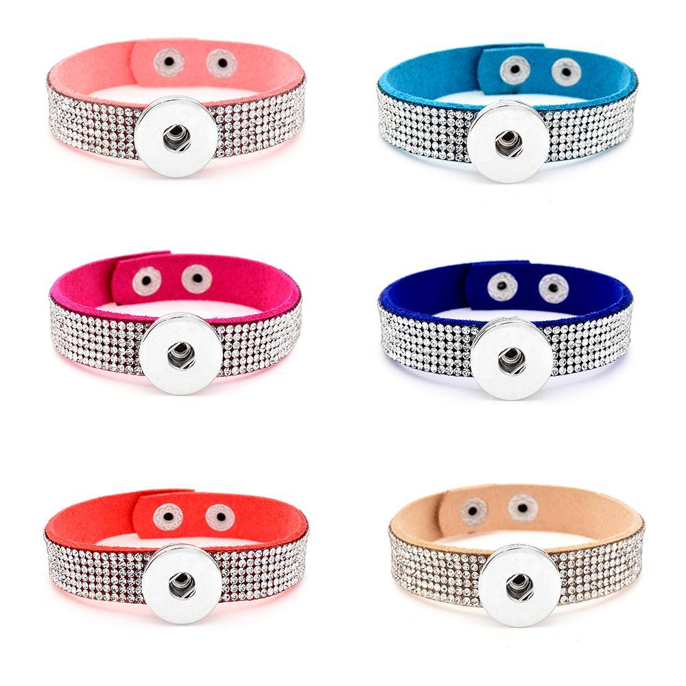Luxury Full Crystal Rhinestone Noosa Chunks Bracelet Fit 18mm Snap Buttons Bangle Unisex 12pcs/lot Mix Colors Fashion Jewelry