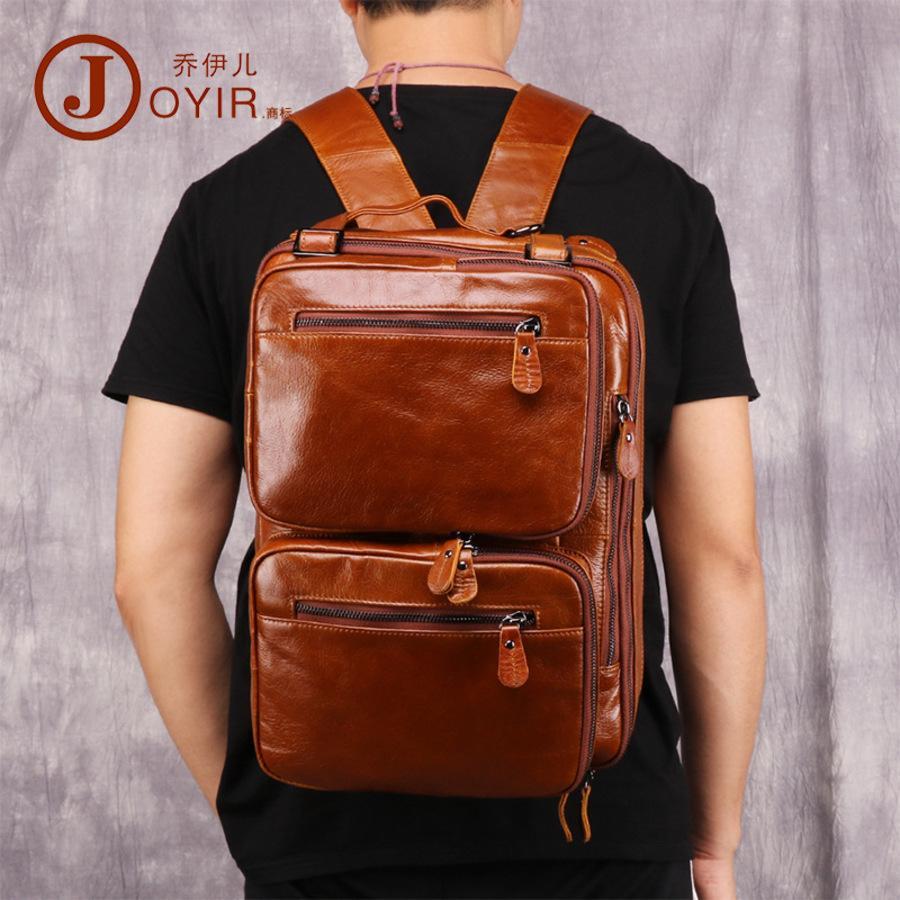 Mochila masculina Moda de lazer multi-função Pasta portátil Cabeça de couro Messenger Bag X4JG