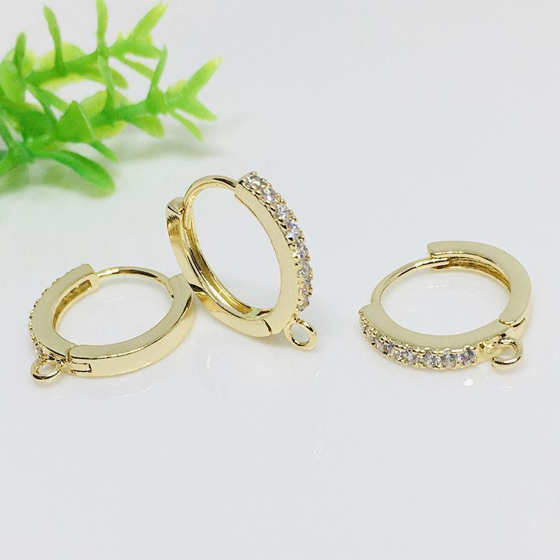 Colombie 14k Boucles d'oreilles couleur Gold Micro Inlaid Zircon DIY Boucles d'oreilles à la main Matière à la main O Boucles d'oreilles rondes Accessoires