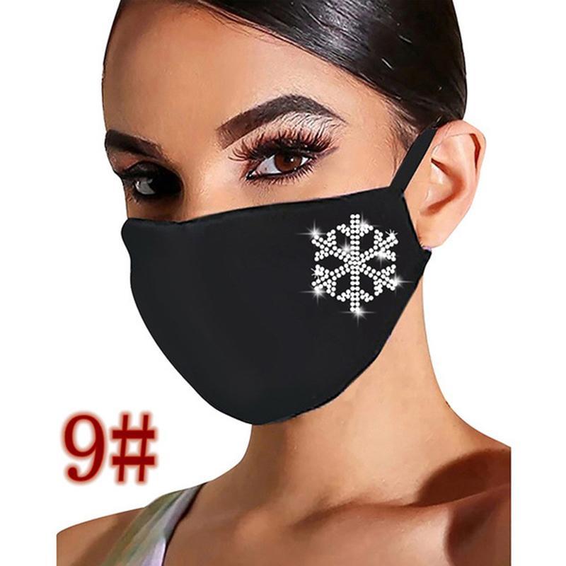 Máscara superior venta navidad cara diamante bucal transpirable mascarilla unisex reutilizable lavable cara mascarillas dhl rápido nave