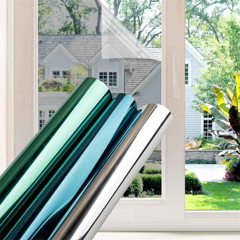 50/60/70/80/90 * 500 Fenster Film Glas Aufkleber Reflektierende UV Sonnencreme Selbstklebende Spiegel Film Wärmeübertragung Vinyl 210317