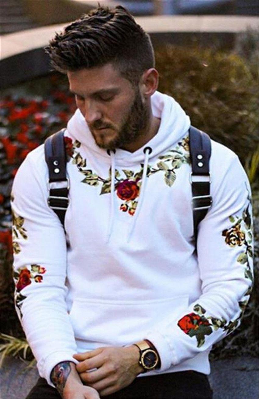 Bahar Baskılı Erkek Hoodies Moda Çiçek Nakış Katı Renk Kazak Hoodies Uzun Kollu Erkek Casual Gevşek Giyim