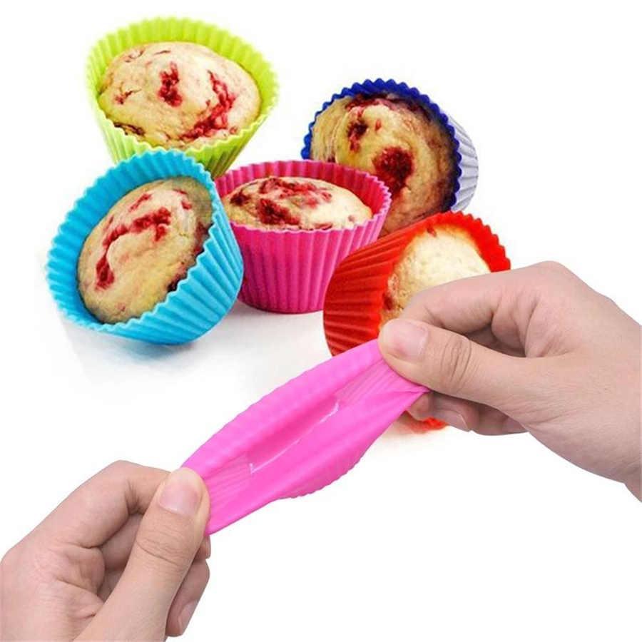 12 unids Pastel de silicona Molde redondo Muffin Magdalena Moldes para hornear Reutilizable DIY Torta Decoración Herramientas Boda Decoraciones de fiesta de cumpleaños