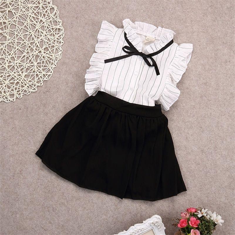 Pudcoco Girl Abbigliamento Au 2pcs Set Girls Gonna Tutu Gonna Bambini Toddler Tops + Gonna T-shirt T-shirt Abbigliamento abbigliamento 2-7Y 210316
