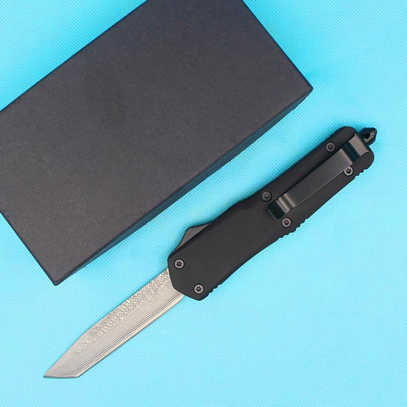 Top-Qualität Schwarz A07 Automatisches taktisches Messer VG10 Damaskus-Stahlklinge Zn-Al-Legierungs-Griff-Überlebens-Gang mit Nylon-Tasche