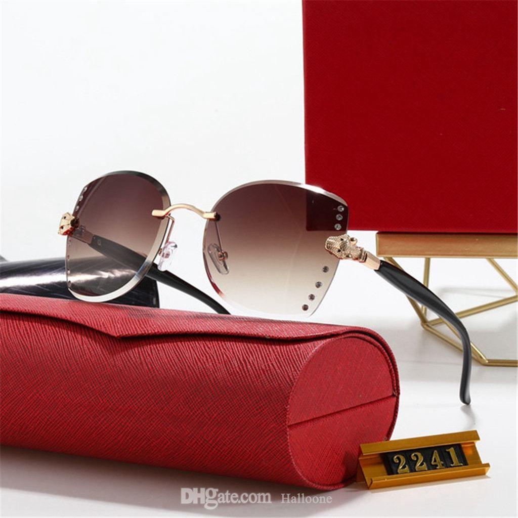 2241 Mode Retro Polarized Luxus Herren Designer Sonnenbrille Randlose vergoldete quadratische Rahmenmarke Sonnenbrille Brillen mit Fall